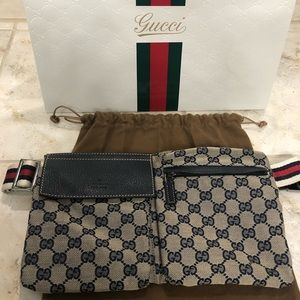 Authentic Gucci Waist Pouch - Navy